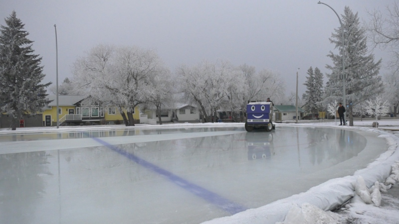 An Olympic-sized outdoor skating rink in Kipling, Sask. is open for the season after being built by a local man. (Kaylyn Whibbs/CTV News Yorkton)