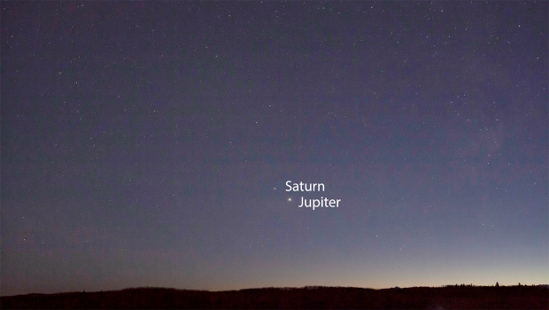 Jupiter and Saturn moving closer together in the evening sky