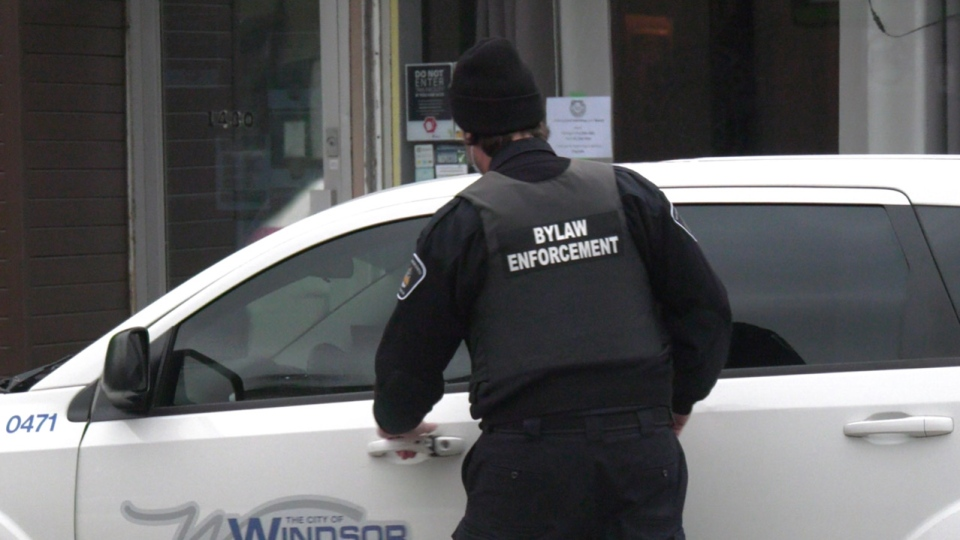 Bylaw enforcement officer in Windsor, Ont. on Monday, Dec. 14, 2020. (Chris Campbell/CTV Windsor)