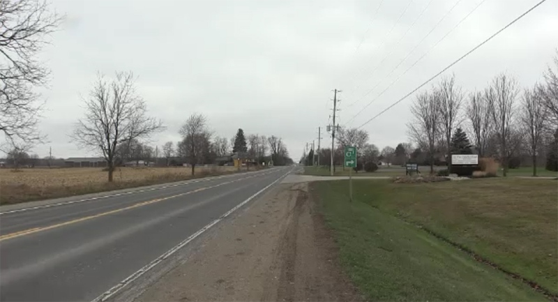 The road allowance across from the Church of God in Aylmer, Ont. near where a confrontation allegedly occurred is seen Monday, Dec. 14, 2020. (Brent Lale / CTV News)
