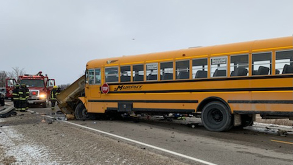 A school bus after a crash in Huron County