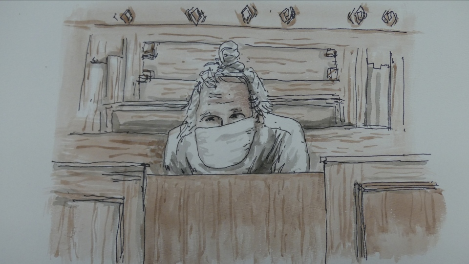 A courtroom sketch shows Canadian fashion mogul Peter Nygard during an appearance at the Manitoba Court of Queen's Bench on Dec. 15, 2020. Nygard was arrested in Canada under the Extradition Act after being indicted in the United States on nine counts, including racketeering and conspiracy to commit sex trafficking.  None of the charges have been proven in court. (Image source: James Culleton )