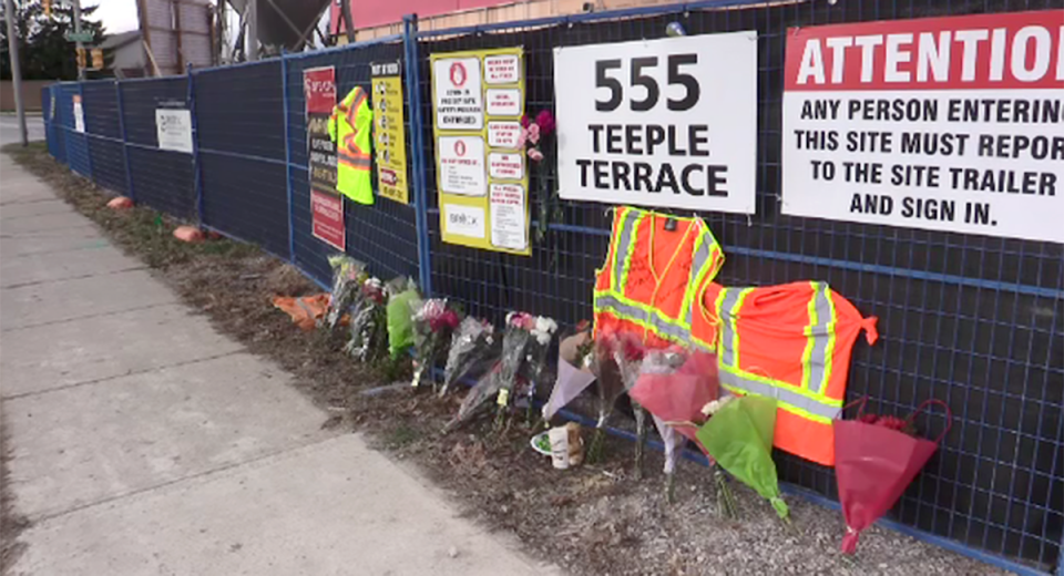 A memorial at 555 Teeple Terrace, where part of a building under construction collapsed, is seen in London, Ont. on Monday, Dec. 14, 2020. (Brent Lale / CTV News)