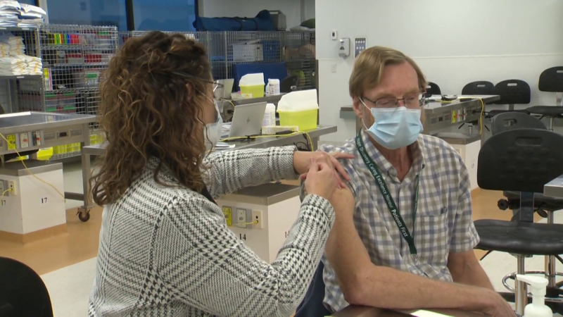 Dr. Brian Penner getting the COVID-19 vaccine. (CTV News Photo Scott Andersson)