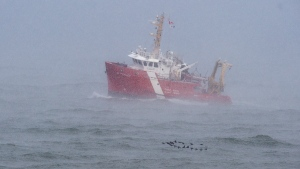 The CGGS M. Perley searches the waters of the Bay of Fundy in Hillsburn, N.S. on Wednesday, Dec. 16, 2020 as they continue the to look for five fishermen missing after the scallop dragger Chief William Saulis sank in the Bay of Fundy. Ground search and rescue teams, RCAF search and rescue aircraft and Canadian Coast Guard boats have been dispatched. THE CANADIAN PRESS/Andrew Vaughan
