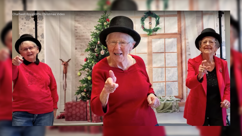 Residents of Chartwell Royalcliffe Retirement Residence in London Ontario, December 2020 (Source: Chartwell Royalcliffe Christmas Card video)