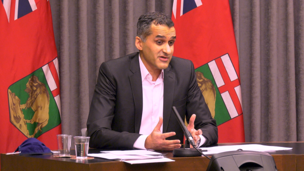 Dr. Jazz Atwal, the acting deputy chief provincial public health officer for Manitoba, answers a question at a COVID-19 briefing on Dec. 16, 2020. (CTV News Photo Glenn Pismenny)