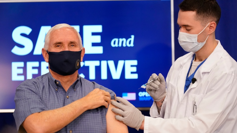 Vice President Mike Pence receives a COVID-19 vaccine to promote the safety and efficacy of the vaccine at the White House. Friday, Dec, 18, 2020. ( Photo by Doug Mills/The New York Times)