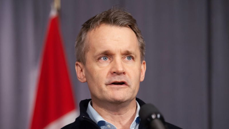Minister of Natural Resources, Seamus O'Regan, speaks to media during the second day of the Liberal Cabinet Retreat at the Fairmont Hotel in Winnipeg, Monday, Jan. 20, 2020. THE CANADIAN PRESS/Mike Sudoma