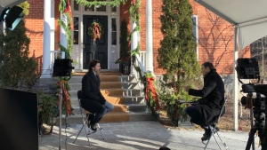 Prime Minister Justin Trudeau in an interview with Evan Solomon, host of CTV's Question Period. (Noah Richardson / CTV's Question Period)