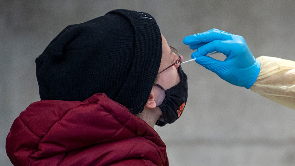 A swab is taken at a pop-up COVID-19 testing site on the Dalhousie University campus in Halifax on Wednesday, Nov. 25, 2020. (THE CANADIAN PRESS/Andrew Vaughan)