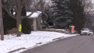 Construction vests hang outside homes on Old Wonderland Road in London, Ont. on Friday, Dec. 18, 2020. (Daryl Newcombe / CTV News)