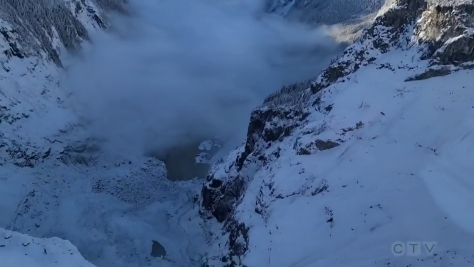 Flight over glacial slide shows extent of impact