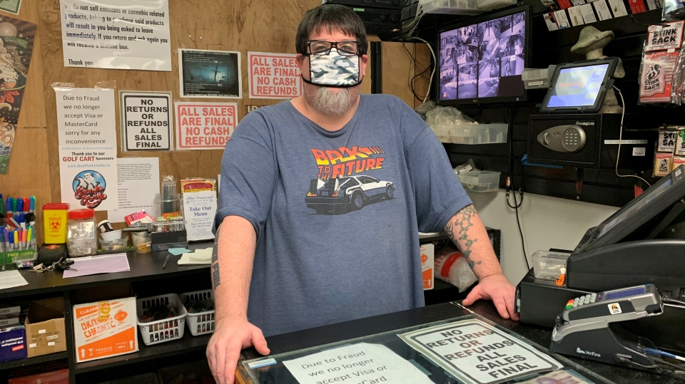 Jeffrey Lundstrom is the owner of Skunk Funk Smoker's Emporium. (Nicole Di Donato/CTV Saskatoon)