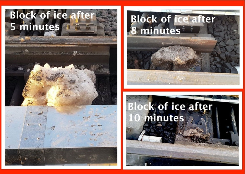 Images showing the rate at which a chunk of ice melted on the Confederation Line using upgraded switch heaters. (Image provided by the City of Ottawa)