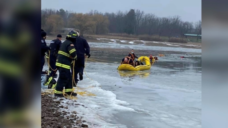 Woodstock Fire Department rescuing two young boys who fell through ice in Pittock Conservation area, Sunday Dec. 20, 2020 (Woodstock Fire Department Facebook)