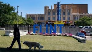 A dog walker passes by a Flint sculpture in downtown Flint, Mich, Thursday, Aug. 20, 2020. (AP Photo/Carlos Osorio)