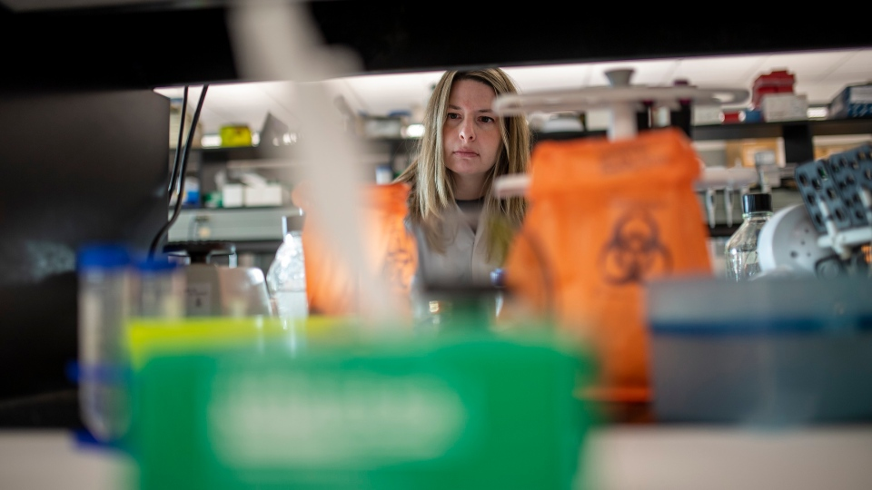 Alyson Kelvin, who is working on different coronavirus solutions, stands for a photo at her University of Saskatchewan lab inside VIDO-InterVac in Saskatoon, Friday, March 13, 2020. (THE CANADIAN PRESS / Liam Richards)