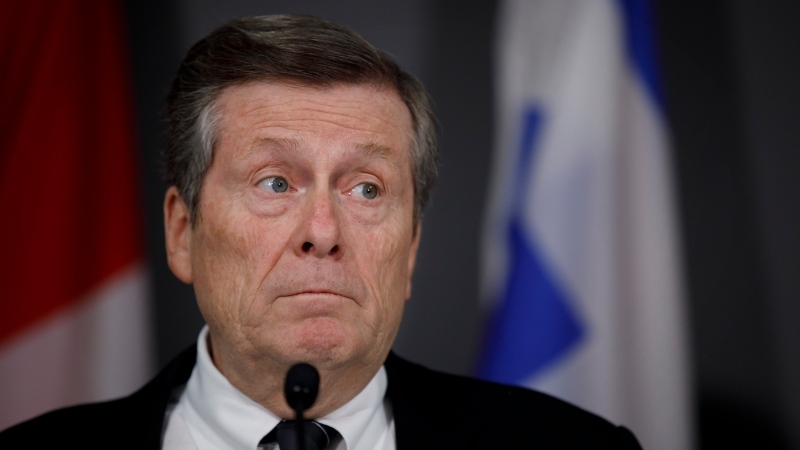 Toronto Mayor John Tory speaks during a press conference in Toronto on February 29, 2020. THE CANADIAN PRESS/Cole Burston
