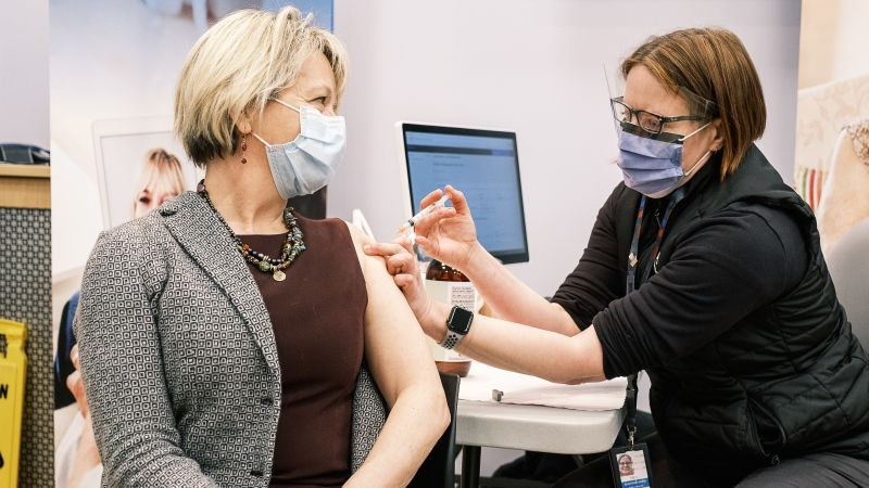 Dr. Bonnie Henry is given the COVID-19 vaccine on Tuesday, Dec. 22, 2020. (Government of B.C.)