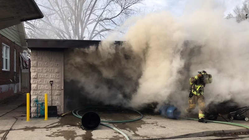 Firefighters battle a fire at Stuart and Davis streets in Sarnia, Ont. on Wednesday, Dec. 23, 2020. (Source: Sarnia Fire Rescue / Twitter)