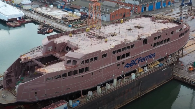 B.C. Ferries' newest liquified natural gas (LNG)-fuelled ferry is seen under construction in Poland before making its way to B.C. for service in the province's Southern Gulf Islands next year.