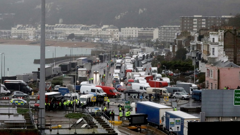 Travellers to Europe are stopped by police officers at the Port of Dover on Wednesday morning. Dan Kitwood/Getty Images/CNN