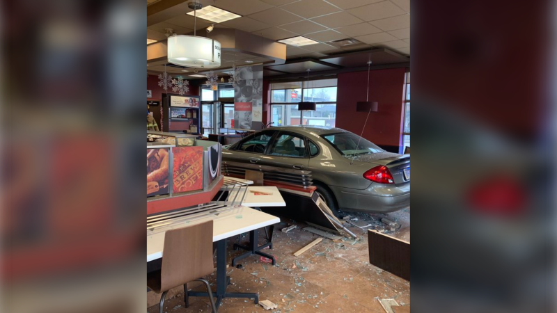 A vehicle crashed into a Tim Horton's in Lakeshore, Ont. on Thursday, Dec. 24, 2020. (courtesy OPP)