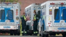 Paramedics stand by their ambulances at Toronto Western Hospital in Toronto on Tuesday October 27, 2020. THE CANADIAN PRESS/Frank Gunn