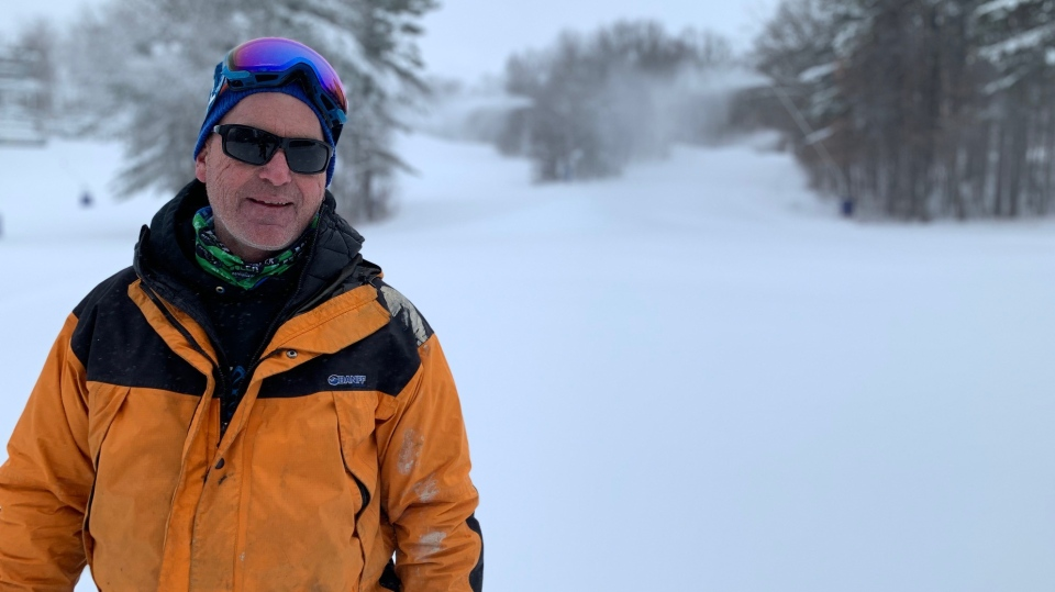 Marty Thody, Boler Mountain management team is seen standing in fresh snow at Boler mountain on Dec. 26, 2020. (Reta Ismail/ CTV news)