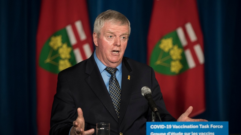 Retired General Rick Hillier, chair of the COVID-19 Vaccine Distribution Task force, responds to a question during a press conference at Queen's Park in Toronto on Friday, December 11, 2020. THE CANADIAN PRESS/ Tijana Martin