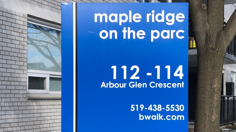 A sign for the Maple Ridge on the Parc apartment complex on Arbor Glen Crescent in London, Ont. is seen Tuesday, Dec. 29, 2020. (Jim Knight / CTV News)