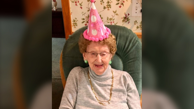 Bertha Murial Higgs, mother of New Brunswick Premier Blaine Higgs, celebrated her 100th birthday on Dec. 31, 2020. (Photo via: Facebook / Premier Blaine Higgs)