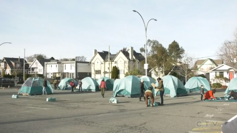 Royal Athletic Park is being used as a temporary homeless camp amid the COVID-19 pandemic. (CTV News)