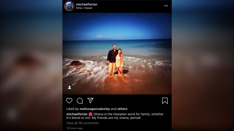 The Instagram post showed two pictures, including one of Michael Forian on a beach with his arm around a woman, tagged as Eliza Snider, press secretary for the minister of advanced education. (Source: Instagram)