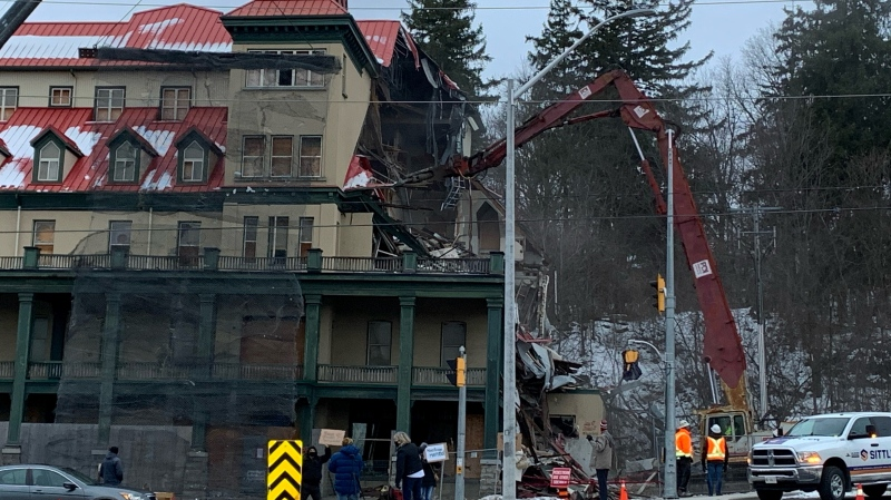 Demolition began on Thursday morning at the Preston Springs Hotel in Cambridge.