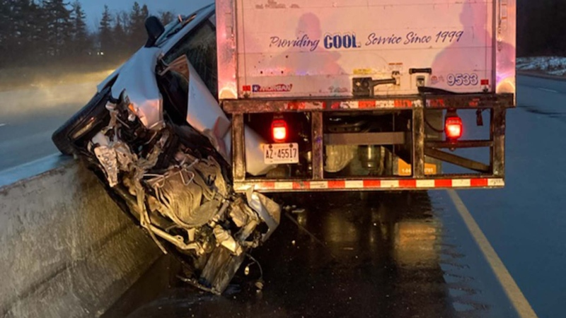 An SUV collided with a truck in Thames Centre, Ont. on Wednesday, Dec. 30, 2020. (Source: @OPP_WR / Twitter)
