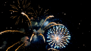 Fireworks are shown in this stock image. (Pexels)