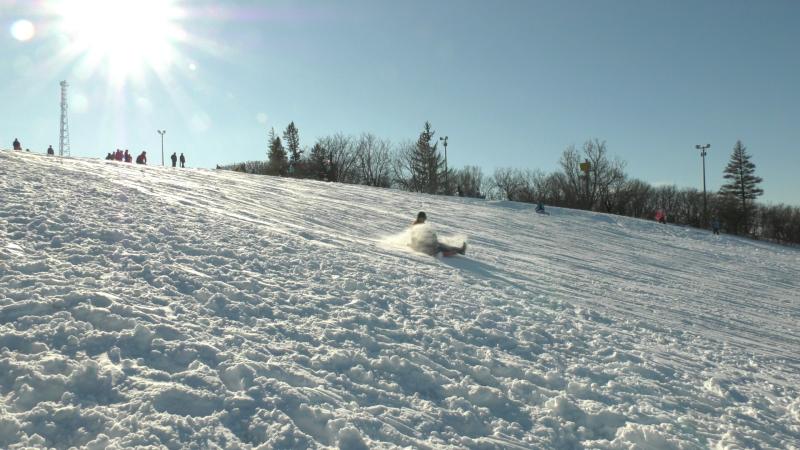The toboggan hill at Carlington Park was busy following the first snowfall of the year. (Shaun Vardon/CTV News Ottawa)