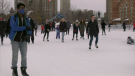 Skaters on the Rink of Dreams at Ottawa City Hall on Sunday, Jan. 3, 2021. (Shaun Vardon / CTV News Ottawa)