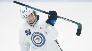 Winnipeg Jets' Patrik Laine (29) skates during the first day of their NHL training camp in Winnipeg, Monday, January 4, 2021. THE CANADIAN PRESS/John Woods