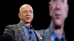 Amazon CEO Jeff Bezos speaks at the the Amazon re:MARS convention, Thursday, June 6, 2019, in Las Vegas. (AP Photo/John Locher)