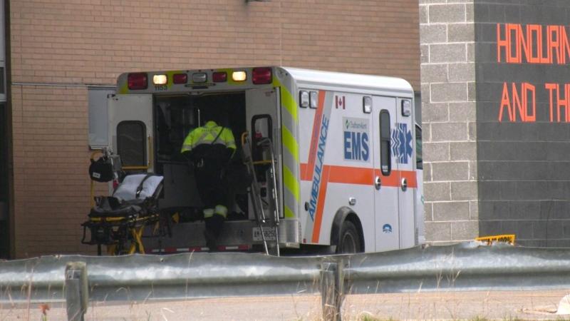 An ambulance outside Chatham-Kent Health Alliance in November, 2020. (Chris Campbell / CTV Windsor)