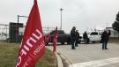 Blockade at Windsor Assembly Plant in Windsor, Ont., on Tuesday, Jan. 5, 2021. (Michelle Maluske / CTV Windsor)