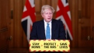 Britain's Prime Minister Boris Johnson speaks during a news conference in response to the ongoing situation with the coronavirus (COVID-19) pandemic, inside 10 Downing Street in London, Tuesday, Jan. 5, 2021. England is entering a third national lockdown that will last at least six weeks, as authorities struggle to stem a surge in COVID-19 infections that threatens to overwhelm hospitals around the U.K. (Hannah McKay/Pool photo via AP)