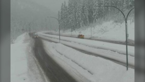 Highway 5, southbound at Zopkios Rest Area, near the Coquihalla Summit, looking northeast on Jan. 5, 2020. (Drive BC)