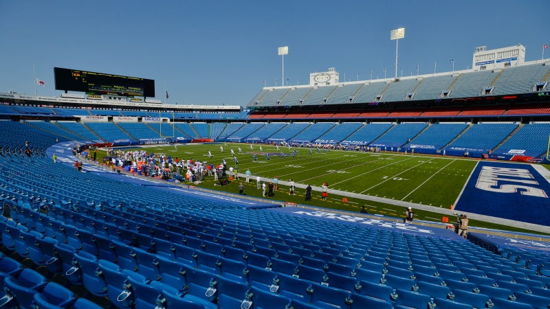 The Buffalo Bills play the Los Angeles Rams during the first half of an NFL football game at a nearly empty Bills Stadium Sunday, Sept. 27, 2020, in Orchard Park, N.Y. (AP Photo/Adrian Kraus)
