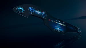 A new MBUX Hyperscreen is pictured. (Mercedes-Benz via AP)