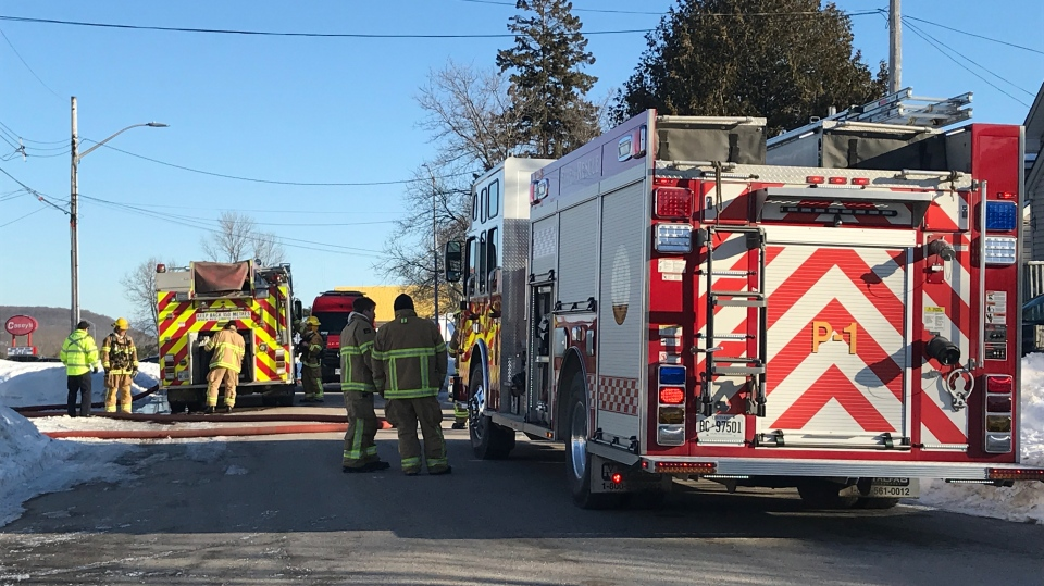 North Bay firefighters at the scene of a shed fire