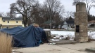 A homeless encampment at McMahen Park in London, Ont. is seen on Thursday, Jan. 7, 2020. (Sean Irvine / CTV News)